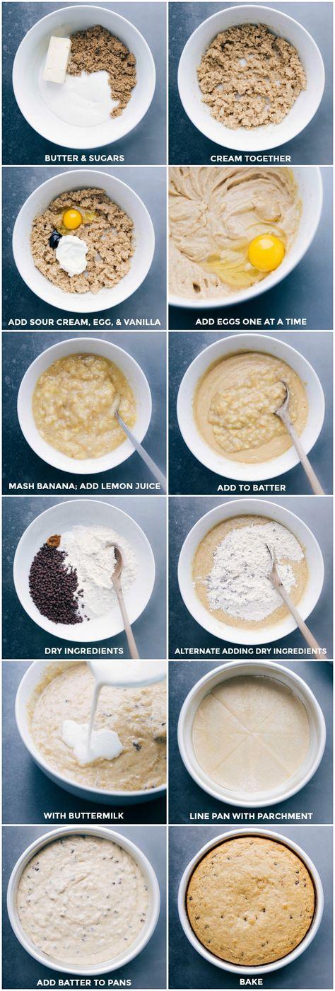 Double-layer Banana Chocolate Chip Cake. Recipe via chelseasmessyapron #recipe #easy #moist #best #quick #banana #chocolatechip #cake