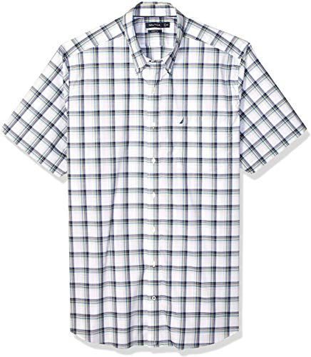 Nautica Mens Short Sleeve Large Plaid Button Down Shirt