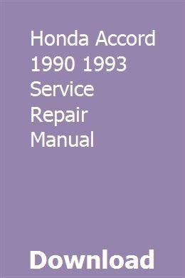 Honda Accord 1990 1993 Service Repair Manual Repair Manuals Jeep Grand Cherokee Jeep Grand Cherokee Limited