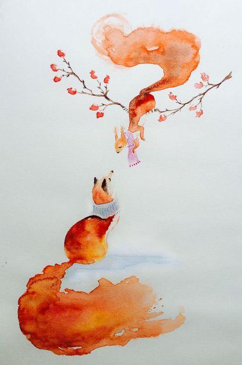 Fox and Squirrel – Watercolor #illustration #watercolour