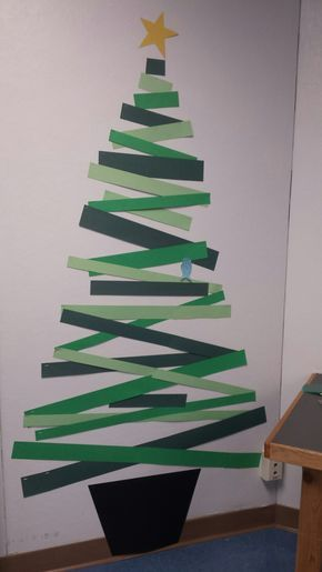 Christmas Tree With Construction Paper Strips And A Bird Christmas Classroom Door Christmas Wall Decor Office Christmas Decorations