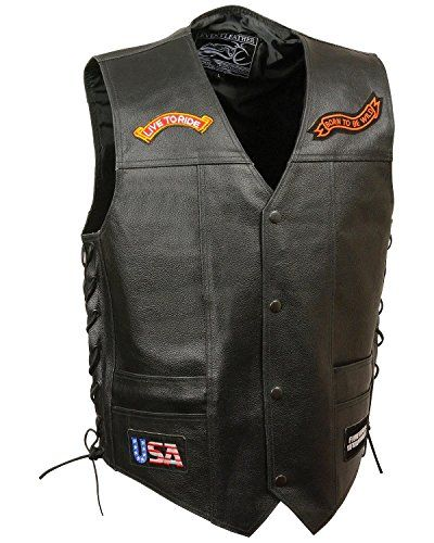 Black, Large Milwaukee Mens Plain Side Vest with Buffalo Snaps