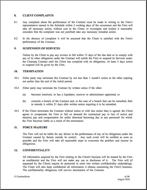 Cleaning Contract - examples printable doc business Pinterest - employee confidentiality agreement