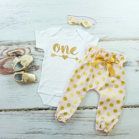 7b99e8823 Pink and Gold Dot High Waisted Pants Outfit, 1st Birthday Pants Outfit with  Knotted Headband | Gold One With Arrow Birthday Outfit