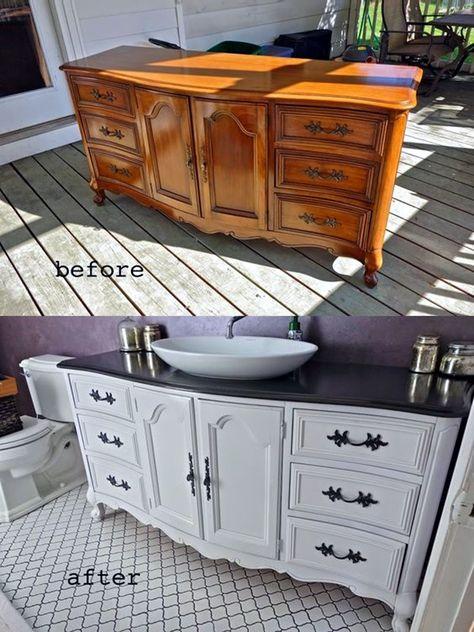 smartest ways of painting bathroom vanity before and after - # . - smartest ways of painting bathroom vanity before and after – - Refurbished Furniture, Repurposed Furniture, Shabby Chic Furniture, Painted Furniture, Farmhouse Furniture, Diy Furniture Repurpose, Metal Furniture, Antique Furniture, Modular Furniture