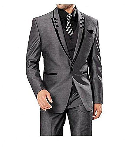 Botong 3 Pieces Grey Men Suits Wedding Suits for Men Groom Tuxedos