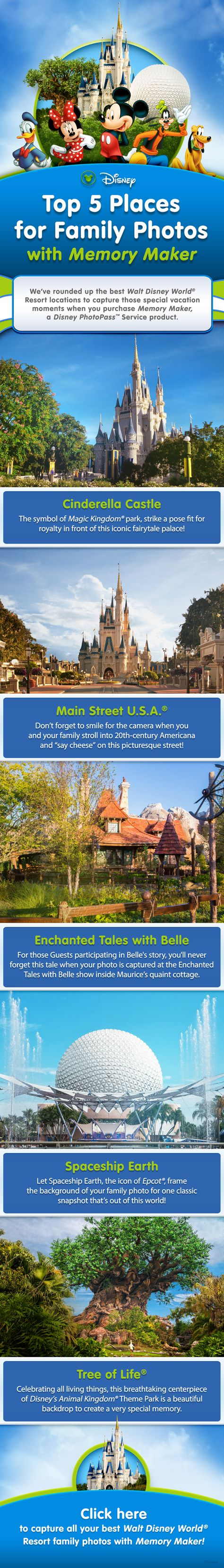 Top 5 Places for Family Photos with Memory Maker at Walt Disney World! #vacation #tips #tricks