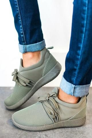 9cc4d2ebef1 Nacara Lace Up Sneaker Olive in 2019 | LucyAvenue | Sneakers fashion ...