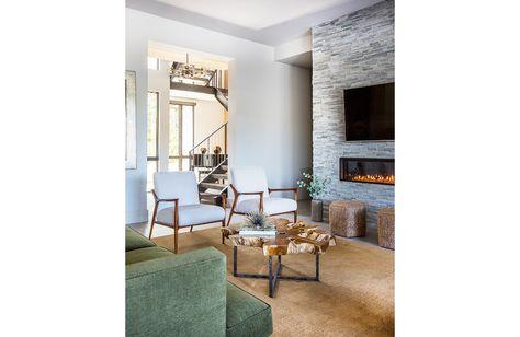 Lisa Gielincki Interior Design Modern Fireplace Modern Furniture Modern Chair Green Sofa Interior Design Interior House Design