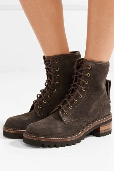 Dark brown Leather-trimmed suede ankle