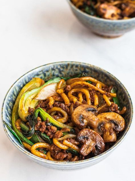 Yaki udon is an easy Japanese stir fried udon noodle recipe ready in 20 minutes! Stir fried udon noodles with a savory 5 ingredient yaki udon noodle sauce. #yakiudon #udonnoodles #stirfriedudonnoodles #asiannoodles   drivemehungry.com