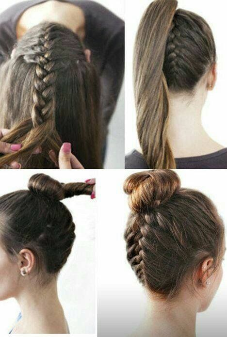 Love This Simple Braid Coming Up The Back On The Head Into A Ponytail Hair Hairgoals 2018 Loveit Hair Styles Hairstyle Reverse French Braids