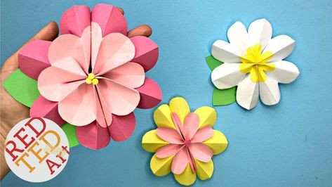 Easy Paper Flower Diy 3d Spring Flowers Diy Making Paper