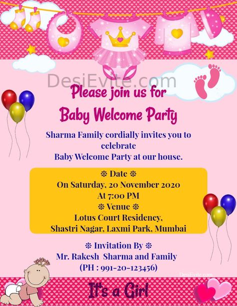 Baby Girl Welcome Ceremony Card