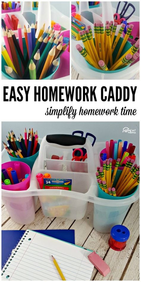 Make homework time a little easier with this simple to make homework caddy - perfect if you don't have a dedicated homework station or spot in your home. Plus tips on homework in time for back to school. Homework Caddy, Kids Homework Station, Homework Organization, Back To School Organization, Back To School Hacks, Craft Organization, School Supply Caddy, School Ideas, School Tips