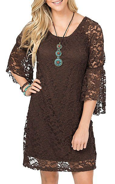 Jody Womens Brown Lace 34 Bell Sleeve Dress Dress