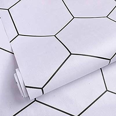 Hexagon White Tile Peel And Stick Wallpaper Extra Wide Thick Bathroom Wallpape White Bathroom With Wallpaper Peel And Stick Wallpaper Removable Wallpaper