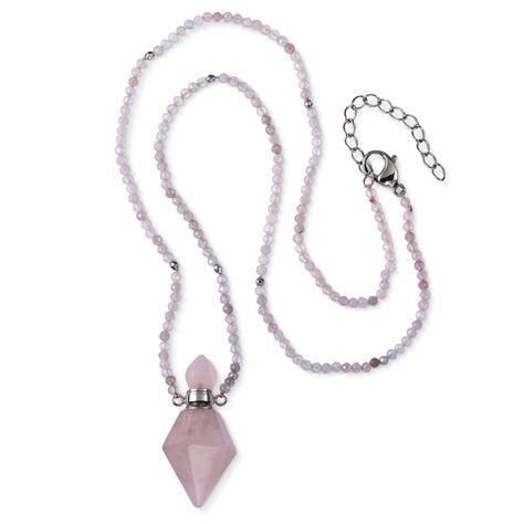Rose quartz container necklace