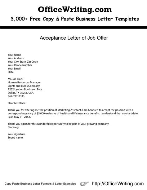 Acceptance Letter of Job Offer -- We have over 3,000 free sample - thank you for the job offer