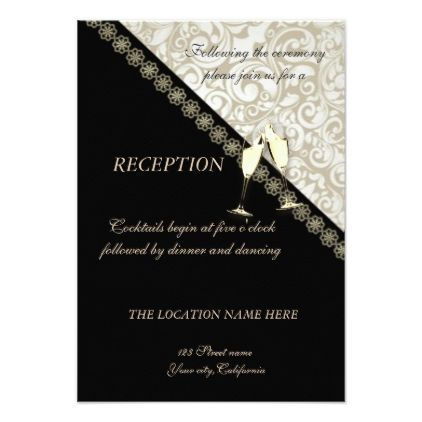 Elegant Black Damask Wedding Reception Invitation Zazzle Com