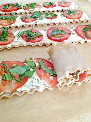Yummo! Plum Tomato & Basil Lasagna Roll Ups