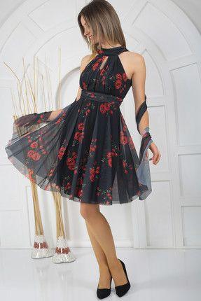 Kadin Siyah Kirmizi Boyundan Baglamali Cicekli Kisa Abiye Elbise Elbise The Dress Moda Stilleri