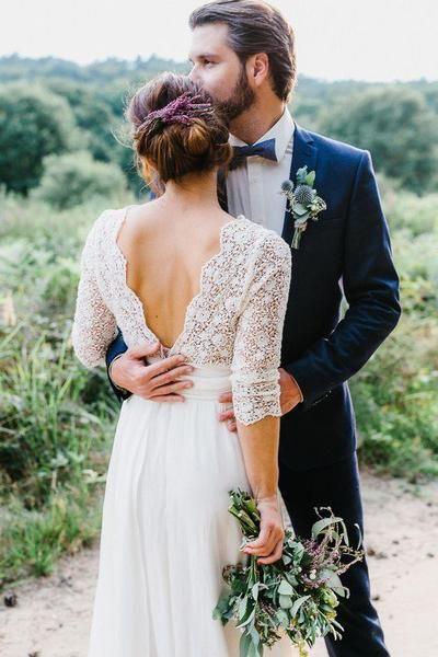 Lace Chiffon 3/4 Sleeves A Line Long Bridal Wedding Dresses, STZ315