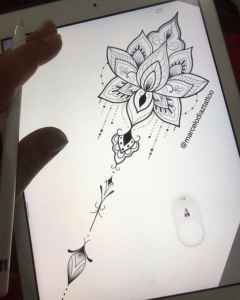Bom dia 🙏🏻 Lótus ornamental 🤙🏻 #tattoomandalas #tattoofeminina #tattoolotusmandala #tattooideas #tattoos #tattoogirls