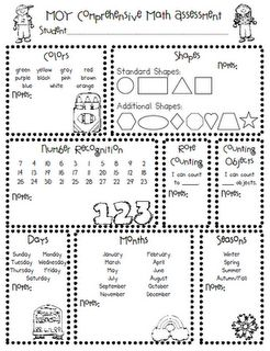 Kinder Assessment (Beginning, middle, end for math and literacy) Freebie