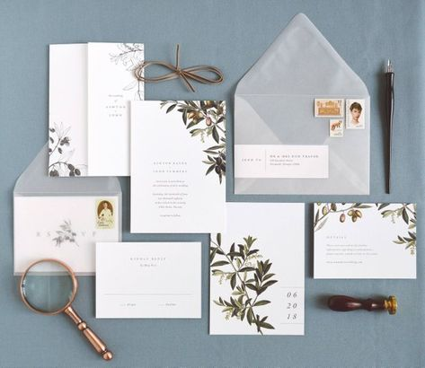 Featuring botanical olives and olive branch artwork combined with minimal, elegant text, this wedding invitation mixes classical themes and modern style to set the tone for a lovely, Tuscany inspired or vineyard wedding.   - - - - - > This listing is for purchasing a