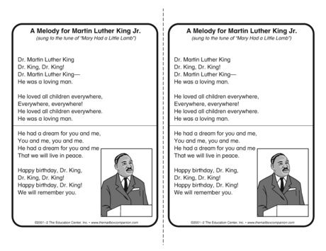 There S Great Information About Martin Luther King Jr In The Lyrics To This Song Sung To The Tune Mlk Jr Day Martin Luther King Jr Dr Martin Luther King Jr