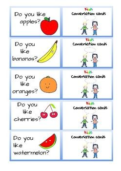 Conversation Cards For Kids Fruit And Veg With Images Fruits