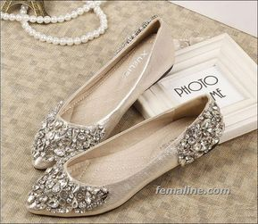 28 Glamorous Flat Wedding Shoes Can Make You Comfort And Style Rhinestone Wedding Shoes Wedding Shoes Low Heel Peach Wedding Shoes