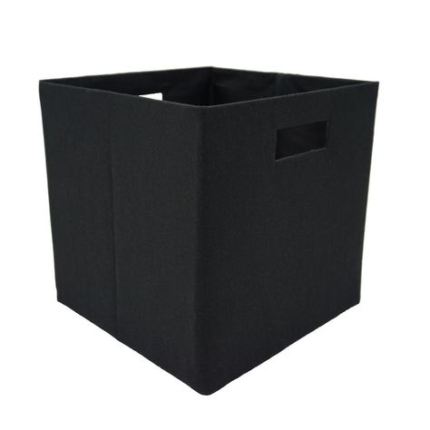 Handcrafted 4 Home 12 In L X 12 In W X 12 In H Black Fabric Foldable Storage Cube Set Of 2 Cube Storage Collapsible Storage Cubes Storage