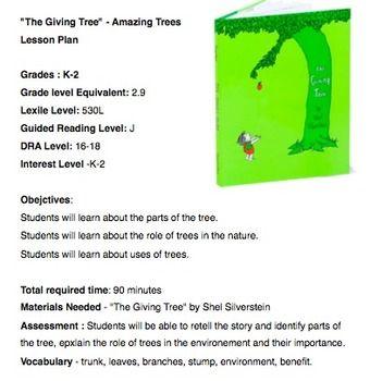 The Giving Tree Lesson The Giving Tree Lesson Lesson Plans