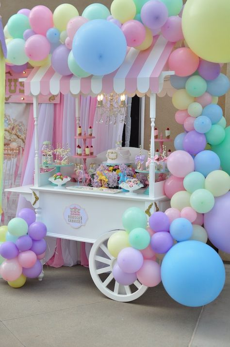 dessert shooters Buy a ticket and take a spin on this Vintage Pastel Carousel Birthday Party by Kimberly Shen of From the Heart Events, out of Encino, CA USA! Spinning with darling de Carousel Birthday Parties, Candy Theme Birthday Party, Candy Party, Unicorn Birthday Parties, Birthday Party Decorations, Pastel Party Decorations, Balloon Decorations, Carousel Party, Colorful Birthday Party