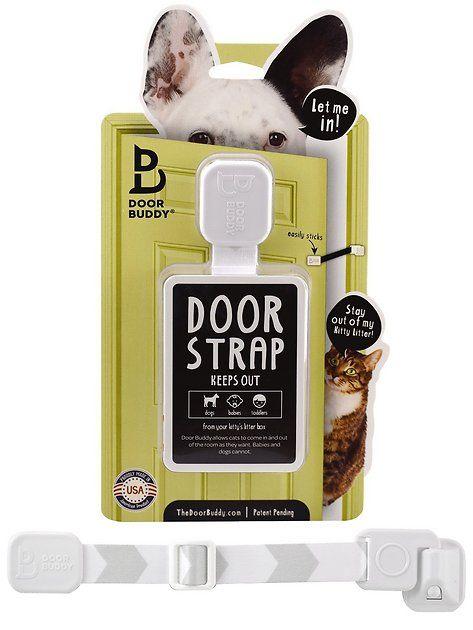 Buy Door Buddy Door Latch Grey At Chewy Com Free Shipping And The Best Customer Service Dog Proof Litter Box Door Latch Cat Feeder