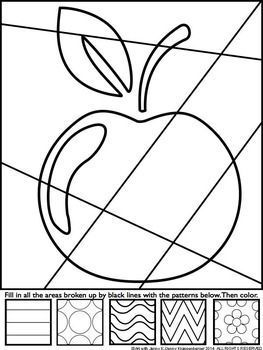 Apple Pop Art Interactive Coloring Sheet Boyama Sayfalari