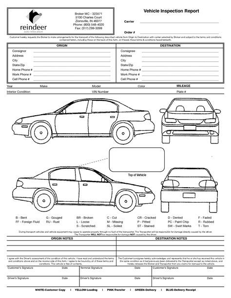 Image Result For Vehicle Damage Inspection Form Template Vehicle