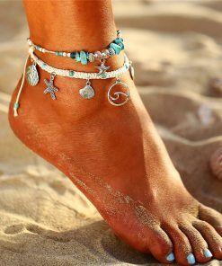 doublelovely Ankle Bracelet for Women Vintage Handmade Leg Bracelet Foot Jewelry