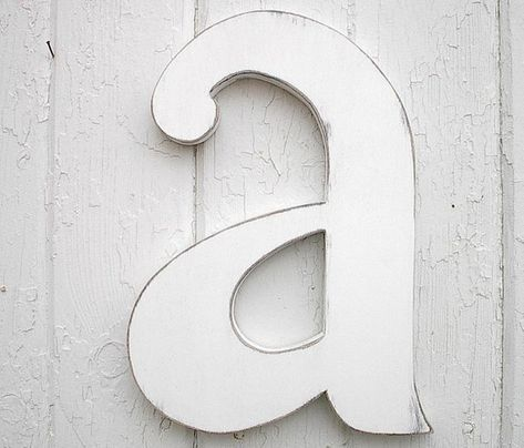 Wooden Letters 12 A Lowercase Distressed White Wood Initial Wall Decor Shabby Chic Big Nursery Wal Wooden Wall Letters Initial Wall Wooden Initials