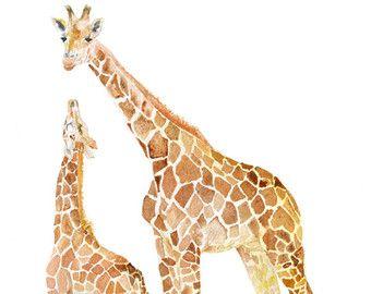 Mother And Baby Giraffes Watercolor Painting 12 X 16 Gallery Etsy Giraffe Nursery Art Giraffe Art Baby Giraffe
