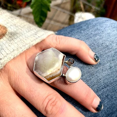 Brown Druzy, Smoky Quartz and Cultured Pearl Ring Multiple