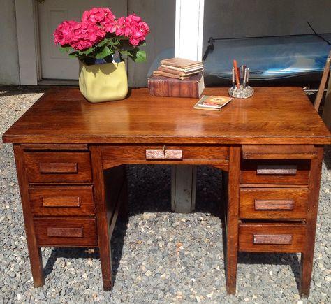 Vintage Teacher's Desk Makeover - Antique Teacher Desk Antique Furniture
