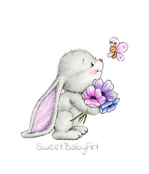 Bunny with Flower and Butterfly Nursery Art Print Children | Etsy