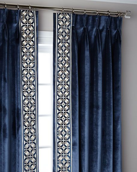 Navy Structure 3 Fold Pinch Pleat Blackout Curtain Panel 96