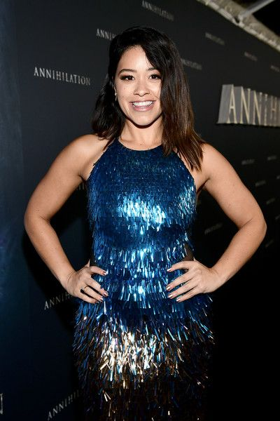 Gina Rodriguez attends the premiere of Paramount Pictures' 'Annihilation' at Regency Village Theatre.