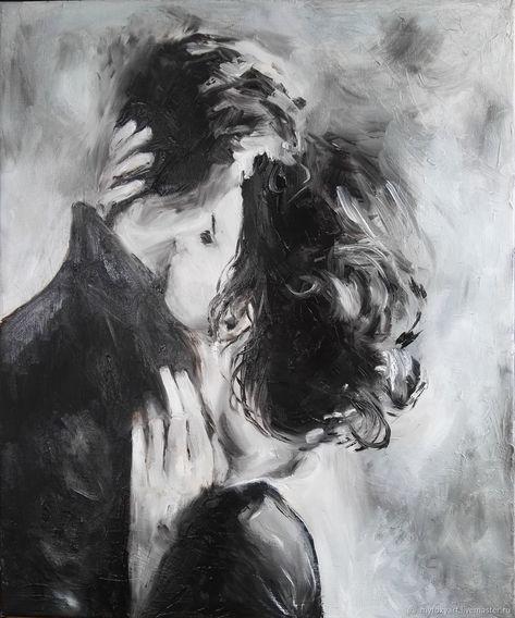 Поцелуй, 50х60см, картина маслом на холсте, влюбленные, любовь, двое – купить в интернет-магазине на Ярмарке Мастеров с доставкой #поцелуй #нежность #kiss #love #двое #влюбленные #арт #art #картинамаслом #художник #холст #картина