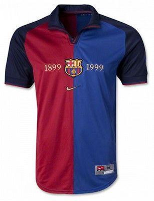 1999 2000 Barcelona Home 100 Year Anniversary Jersey Shirt Retro