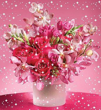 Bouquet Fleurs Roses Scintillantes Joyeux Anniversaire